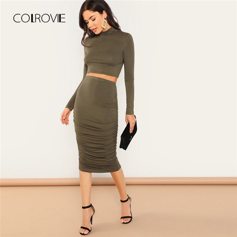 b3a02f7f2e2 COLROVIE Army Green High Neck Ruched Long Sleeve Elegant Two Piece Sets  Crop Top and Skirt Women Set 2018 Autumn Sexy Suits-in Women's Sets from  Women's ...