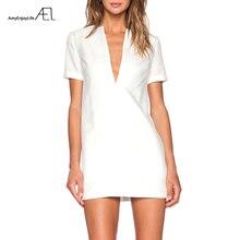 AEL платье с открытой спиной, летнее женское пляжное платье, модная повседневная одежда, v-образный вырез, короткий рукав, сарафан,, белый, простой стиль