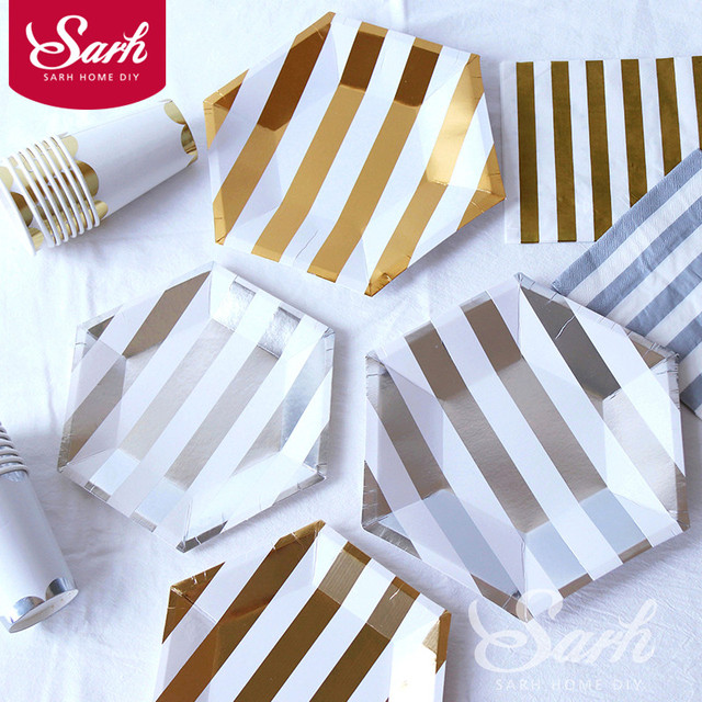 Gold Silver Striped Bling Paper Plate Paper Cup Tissue Disposable Dishware Party Supplies Dessert Table Birthday  sc 1 st  AliExpress.com & Gold Silver Striped Bling Paper Plate Paper Cup Tissue Disposable ...