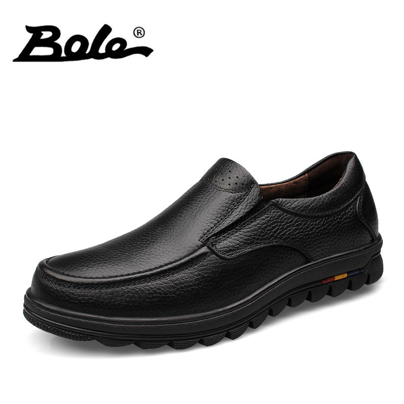 BOLE Brand Handmade Genuine Leather Men Shoes Design Slip on Breathable Men Driving Shoes Flats Loafers Shoes Men Big Size 38-47 new fashion autumn solid color men shoes leather low slip on men flats oxford shoes for men driving shoes size 38 44 yj a0020