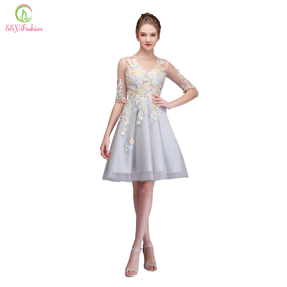 SSYFashion New Sweet Cocktail Dresses Grey Scoop Half Sleeved Knee-length Lace Appliques Beading Party Gown Custom Formal Dress cocktail dress