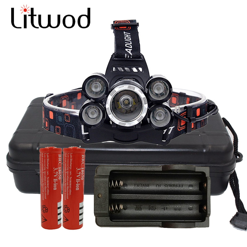 Z30T13 XM L T6 Headlight 5 Leds Headlamp Led Head Lamp Camp Hike Emergency Outdoor Equipment 2x18650 batteries+charger light skyfire powerful brightest headlamp waterproof 2xt6 led headlight outdoor camp lamp hoofdlamp with 2 rechargeable 18650 4000lm