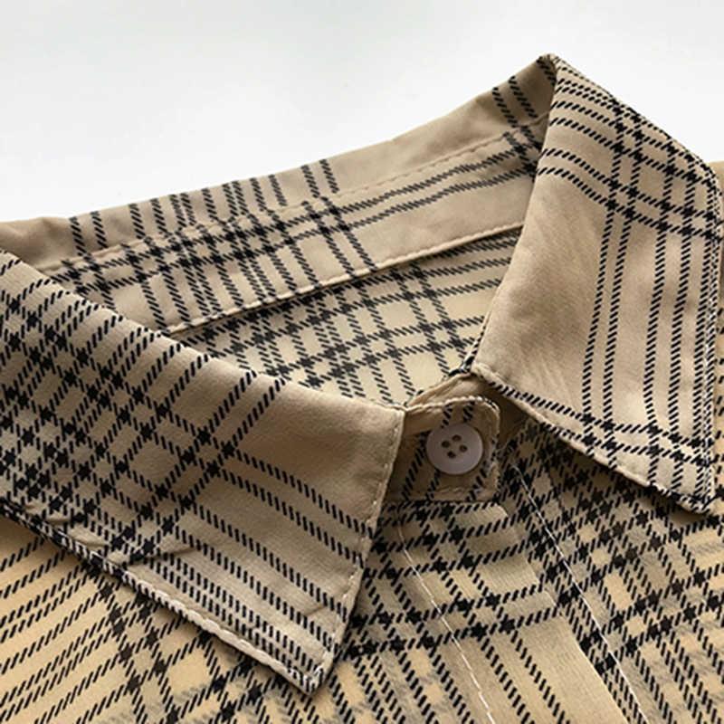 Женские топы и блузки, прозрачный кардиган-кимоно, Женская корейская модная одежда размера плюс 4xl, Новое поступление 2019, в клетку, Xxxxl 455