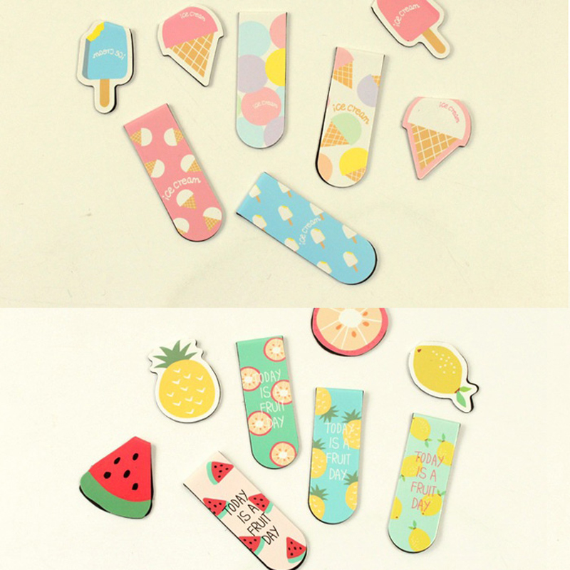 2pcs/Set Fresh Ice Cream Fruit Magnetic Bookmarks Books Marker Of Page Stationery School Office Supply Student Prize