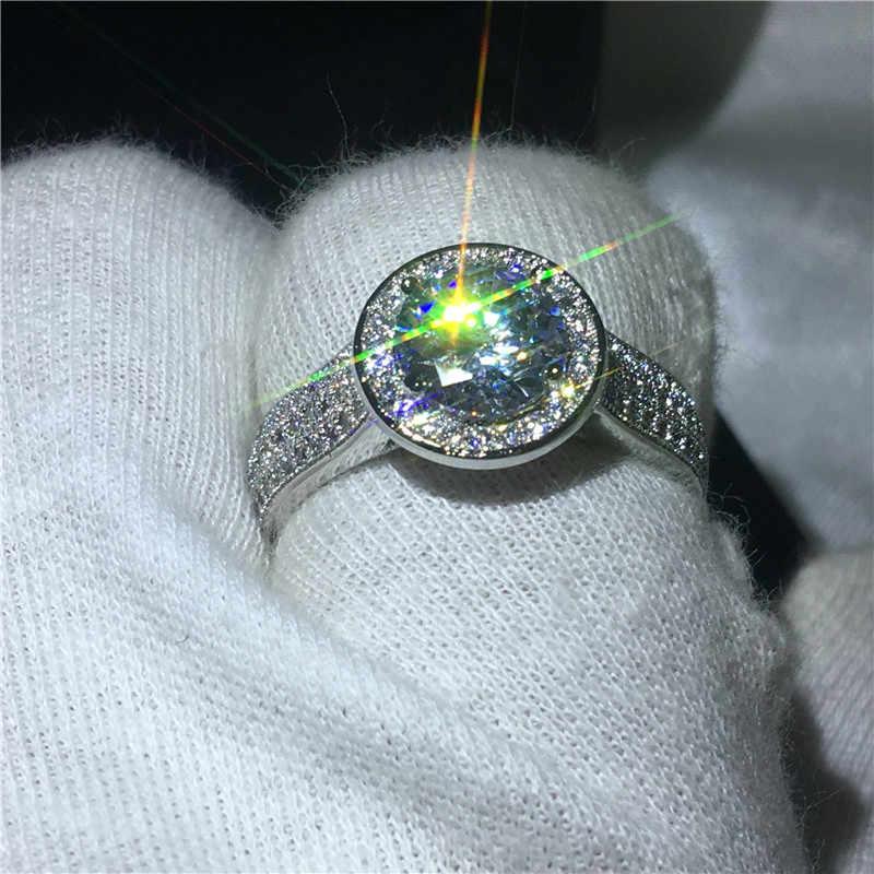 Choucong Brilliance หรูหราแหวน 2ct 5A Zircon CZ 925 เงินสเตอร์ลิงแหวนหมั้นแหวนผู้หญิงผู้ชายเครื่องประดับ