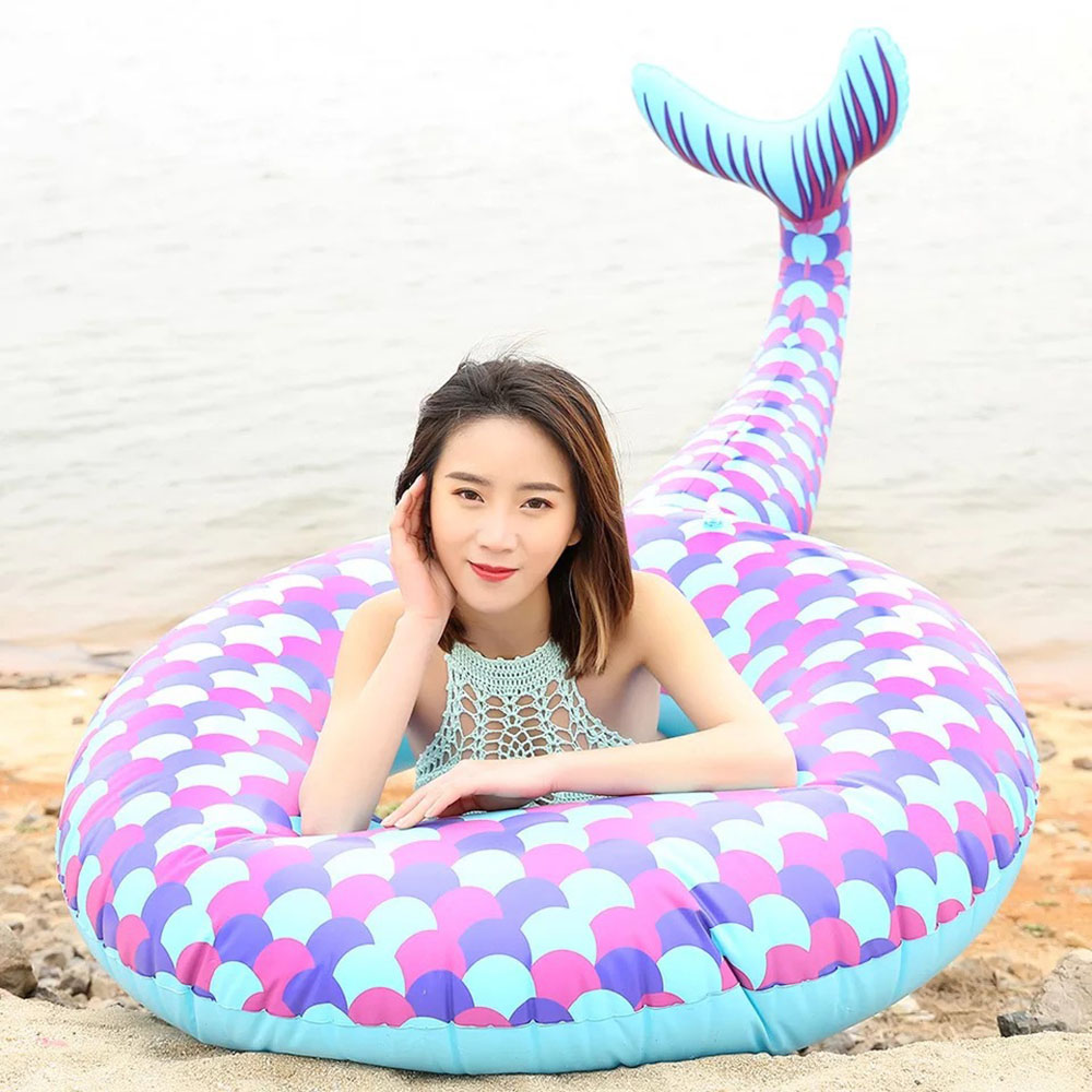 New Mermaid Swimming Ring Giant Pool Float Mattress Tail Swimming Circle Adult Beach Summer Water Inflatable Toy Home Decoration