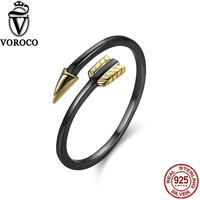VOROCO Authent 100 Sterling Silver 925 Gold Arrow Open Rings Free Size Band Cuff Adjustable Ring