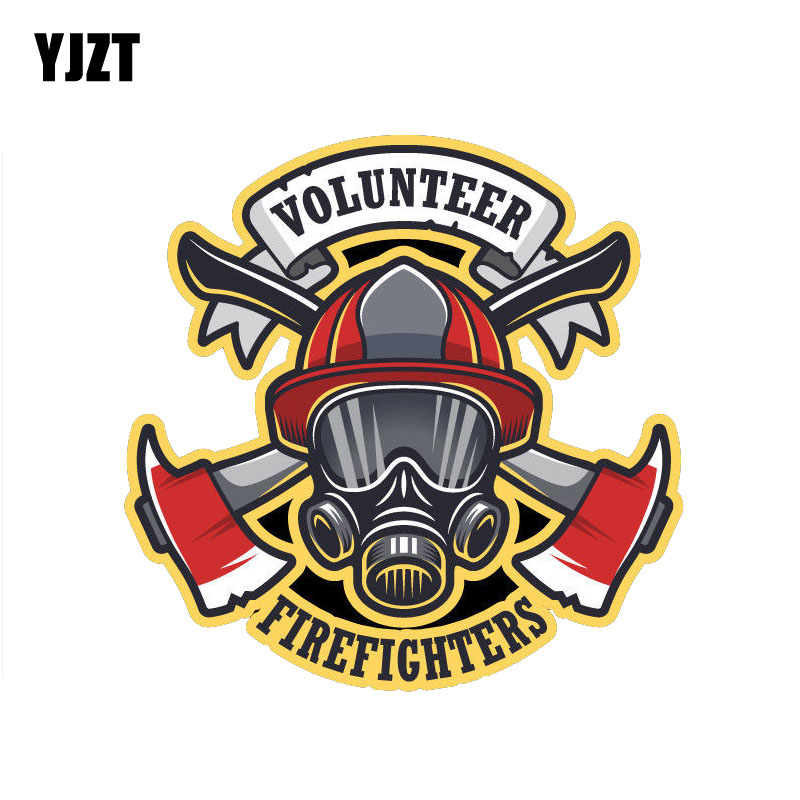 YJZT 13.9CM*13.9CM Funny Volunteer Firefighter Reflective Car Sticker PVC Decal 12-0659