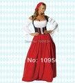 Frete grátis PLUS Sz Red rapariga da cerveja de Oktoberfest Maid camponês vestido de S-6XL