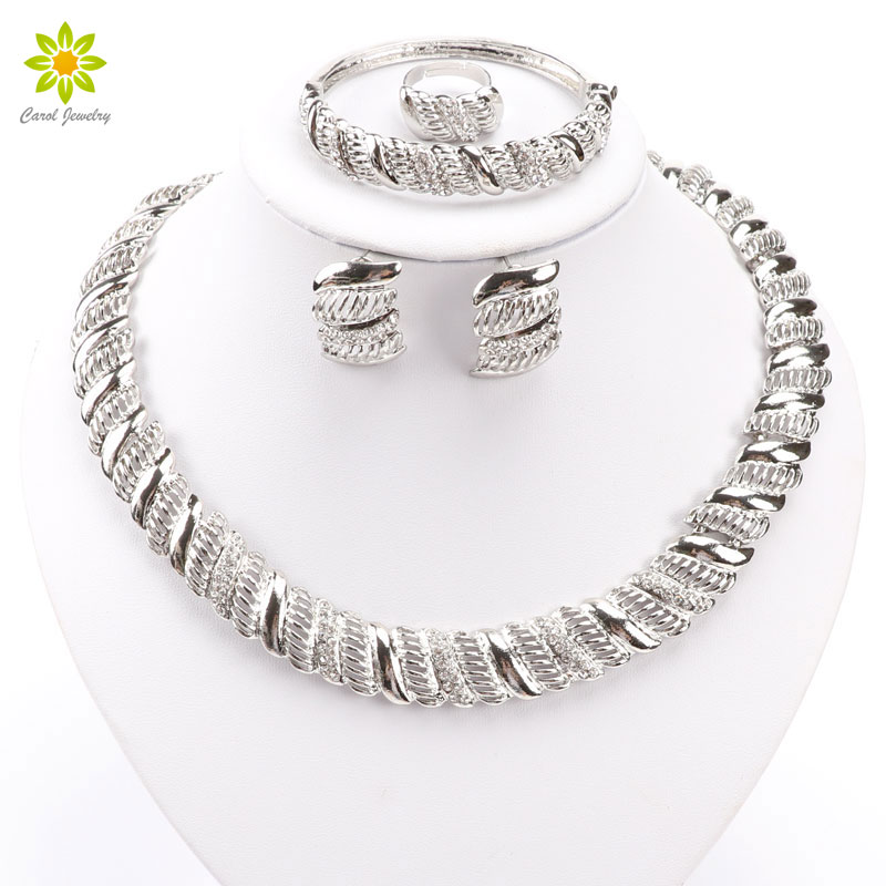 Jewelry sets women wedding fine silver plated necklace for Bracelet for wedding dress