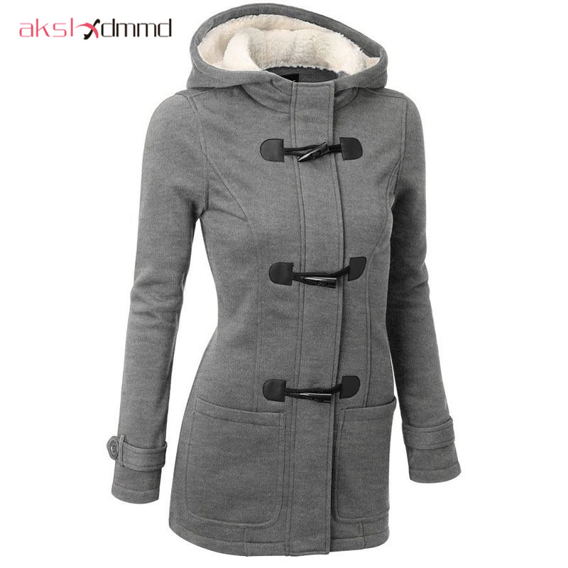 Women Causal Coat 2018 Autumn Witner Women's Overcoat Female Hooded Coat Zipper Horn Button Outwear Jacket Casaco Feminino LH624