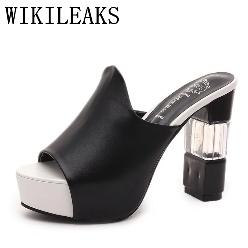 leather slides mules women shoes high heels slippers sandals platform shoes lolita shoes tongs sandales femmes summer sandals meilikelin street style women slippers metal chain high heels slides shoes summer women sandals high heel flip flop mules shoes