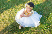 Gold Top Baby Girl Birthday Party Dresses With Big Bow Summer Dresses Tiered Princess Frock Designs