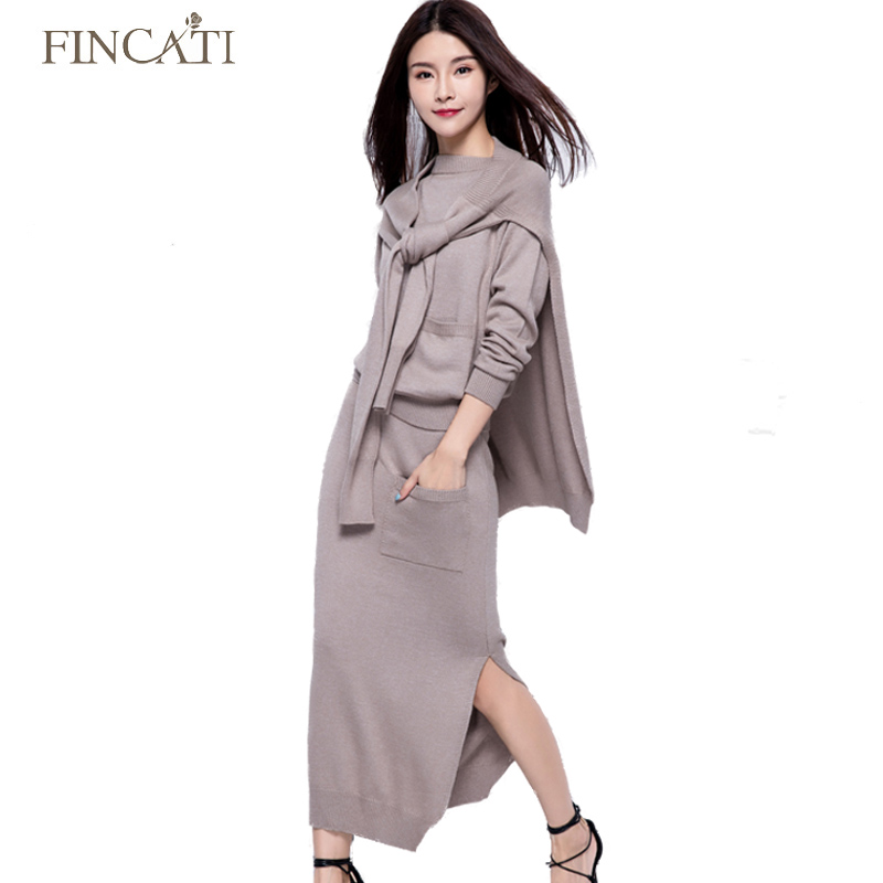 Autumn Winter High Quality Cashmere Blending Women Three Pieces Set Woolen Sweater + Notched Skirt+Shawl Amice Knitted Dress