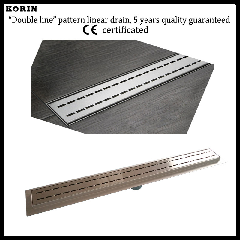 1000mm Double Style Stainless Steel 304 Linear Shower Drain, Vertical Shower Drain with flange, Floor Waste, long floor drain 800mm slim style stainless steel 304 linear shower drain vertical shower drain with flange shower channel