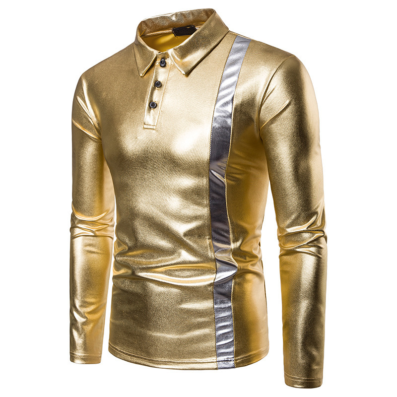 Mens autumn winter two-color fashion design men lapel long sleeves clothing polo shirt 3 colour