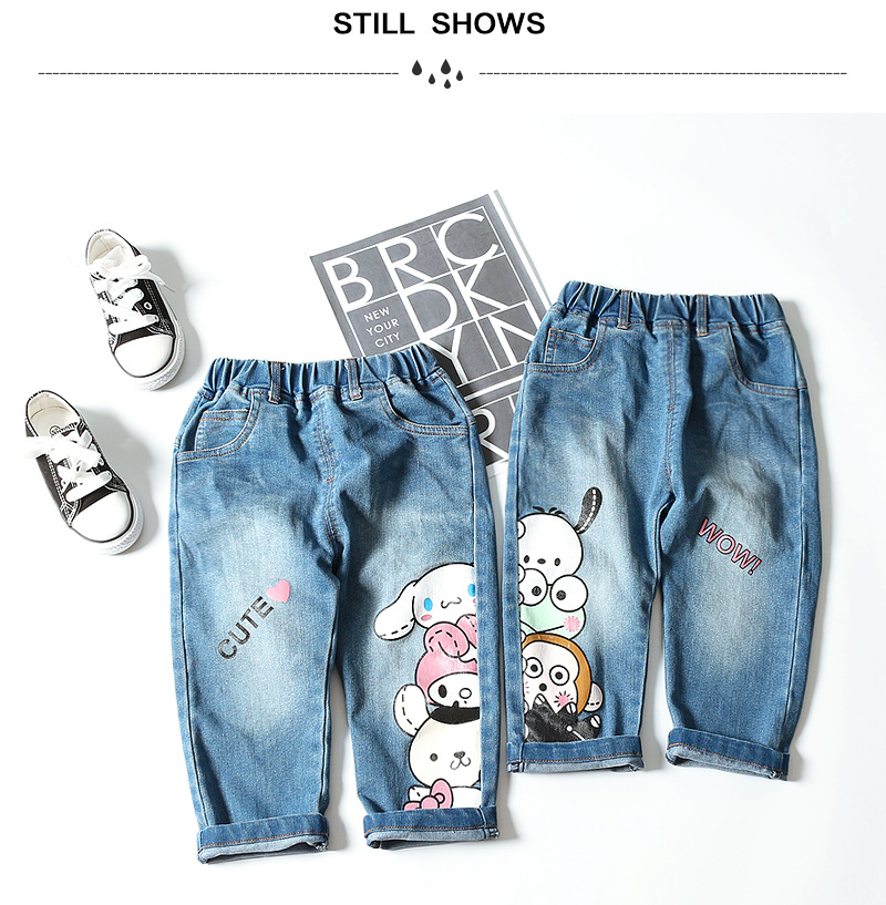 Children's jeans 2019 Spring and autumn new style boys and girls jeans baby cartoon trousers cute jeans