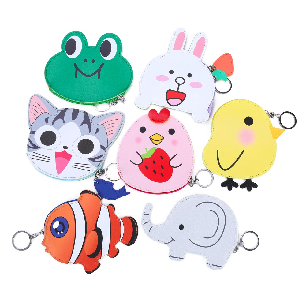 Cartoon Cute Coin Purse Pocket Women Animal Nemo Frog Cat Chicken Rabbit Small Leather Clutch Purse Card Holder Wallet Money Bag cute women s wallet leather small wallet fashion credit card holder zip coin purse clutch handbags mini money bag hot sale page 3