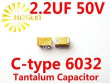 2.2 МКФ 50 В C тип 2312 6032 225 Т SMD Тантал Конденсатор Разъем TAJC225K050RNJ x100PCS Бесплатная Доставка
