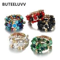BUTEELUVV Vintage Stone Bead Bracelet Bohemian Multi Layers Wood Quartz Black Red Resin Crystal Beaded Charm Bracelets for Women