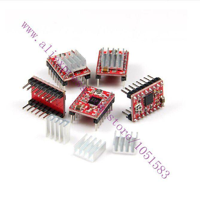 5pcs/lot  StepStick A4988 Stepper Driver & Heatsink For Pololu Reprap Prusa Mendel RAMPS ,3d printer parts/kit  Free shipping