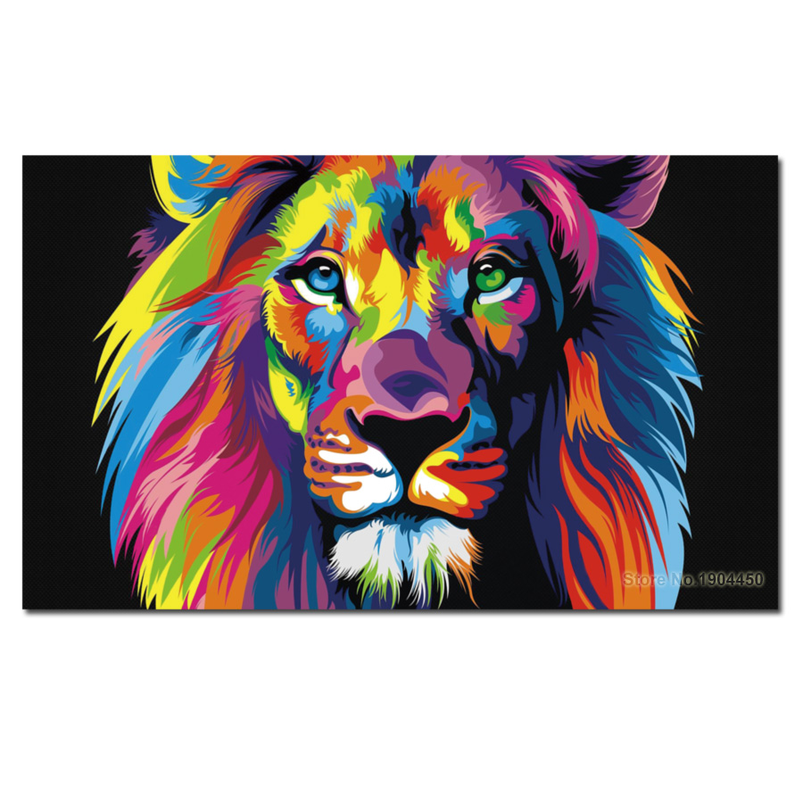 No Frame Canvas Wall Art Colorful Lion Animal Oil Painting Modular Picture HD Prints Artwork Poster for Bedroom Home Decoration no frame canvas
