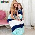 Estilo de verão Da Família Roupas Combinando vestidos filha da mãe azul da Cor do Contraste Vestido A Linha do Tornozelo-Comprimento mãe & roupa dos miúdos