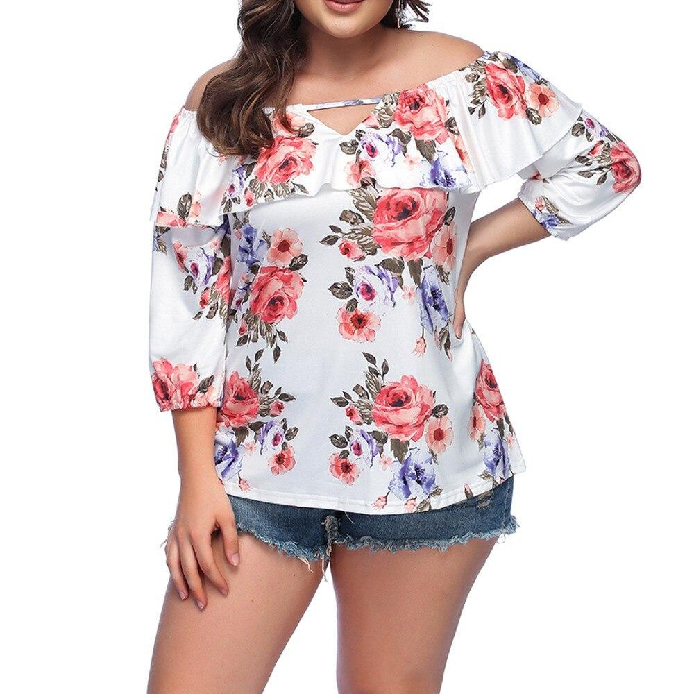94fa86abaabaa Detail Feedback Questions about Autumn Plus Size 5XL XXXXL XXXL Lace  Crochet Applique Cold Shoulder Tops Women Flower Floral Off Shoulder Long  Blouse Big ...