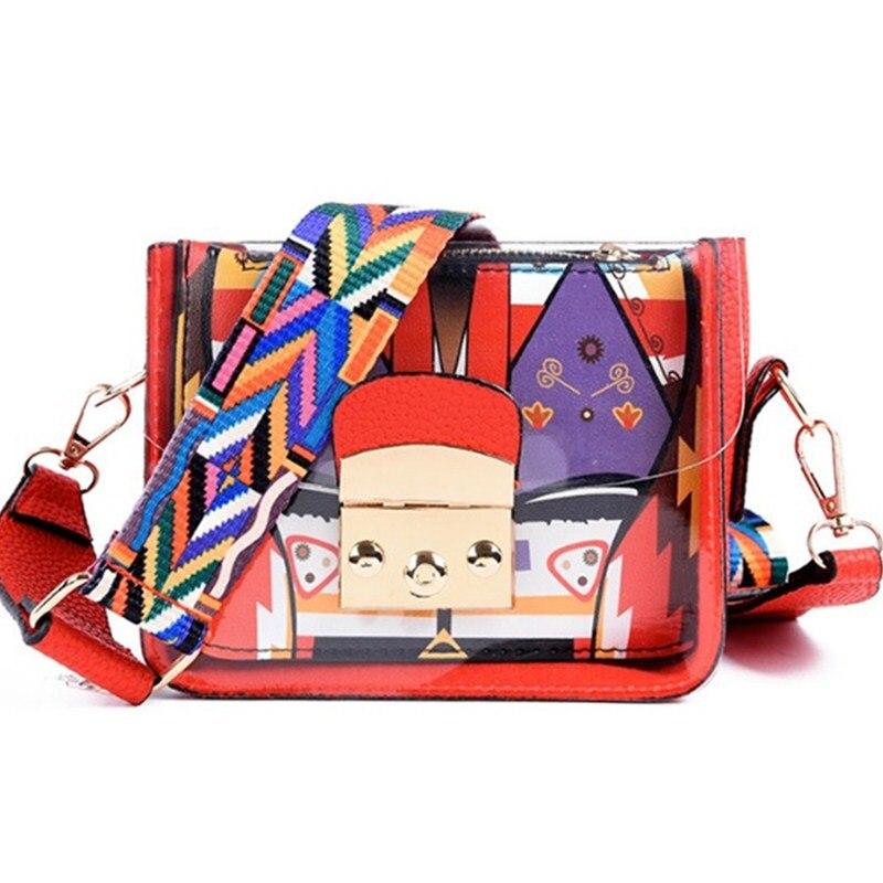 2018 New Women Shoulder Bags Summer Graffiti Ladies designer handbags colorful strap transparent small bag women purse clutch
