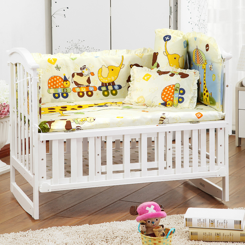 5 pcs nyfødt baby værelse sengetøj sæt tegnefilm sengetøj sæt 100% bomuld baby sengetøj omfatter pude bumpers madras