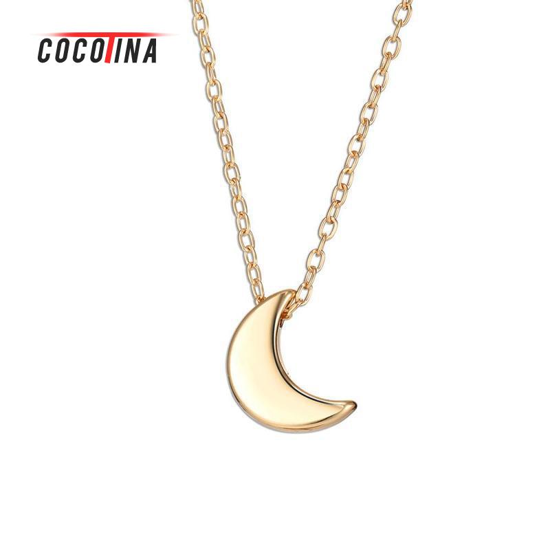Minimalist Necklace Crescent Moon Pendant Necklace Women Jewelry Solid Chain Silver Gold Color Necklace For Women YXL7311