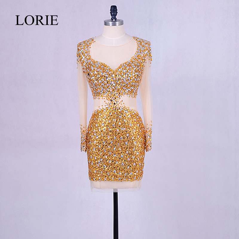 Sparkly Gold Short   Evening     Dress   2018 Vestido de noche See Through Back Crystals Prom Gowns Elegant Women Formal Wedding Party