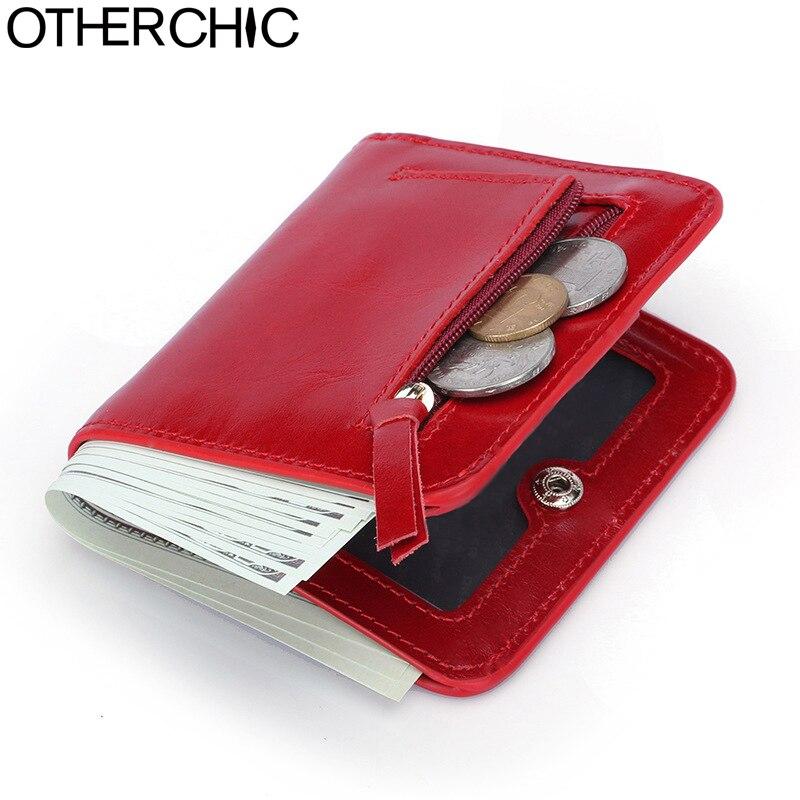 OTHERCHIC Genuine Leather Women Short Slim Wallets Small Wallet Zipper Coin Pocket Purse Female Purses Mini Money Clip 7N03-26