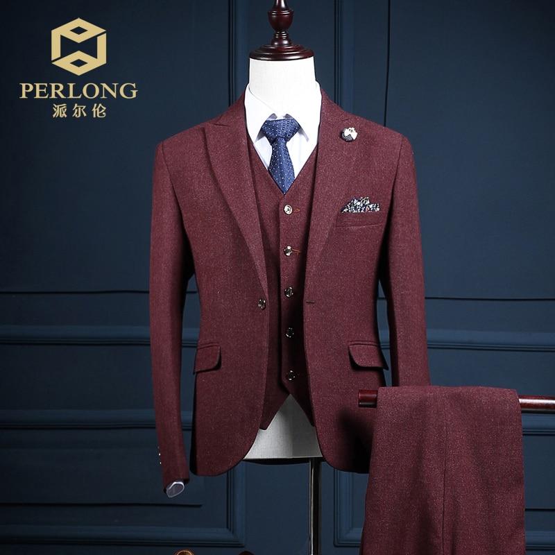 Top Quality Custom Brand Wine Red Suits Blazers Men Jacket Pants Vest Slim Fit Business Groom Wedding Prom Male Tuxedo 3 Piece