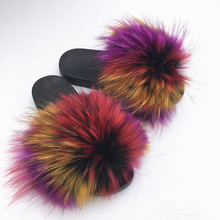 2019 Big Full Fur Slippers  Real Fox Hair Slides Beach holiday fox fur for women