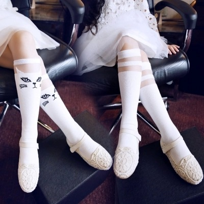 Baby Kids High Knee Socks School Cartoon Cat Lace Solid Stockings Leg Warmer For Girls