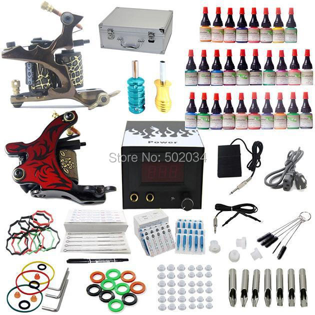 USA Dispatch Complete tattoo kit 2 machine gun 28 inks colors power grips needles tips equipment set supplies for starters starter tattoo kit 40 inks 2 machine guns grips needles tips power set equipment supplies for beginners usa warehouse k201i1