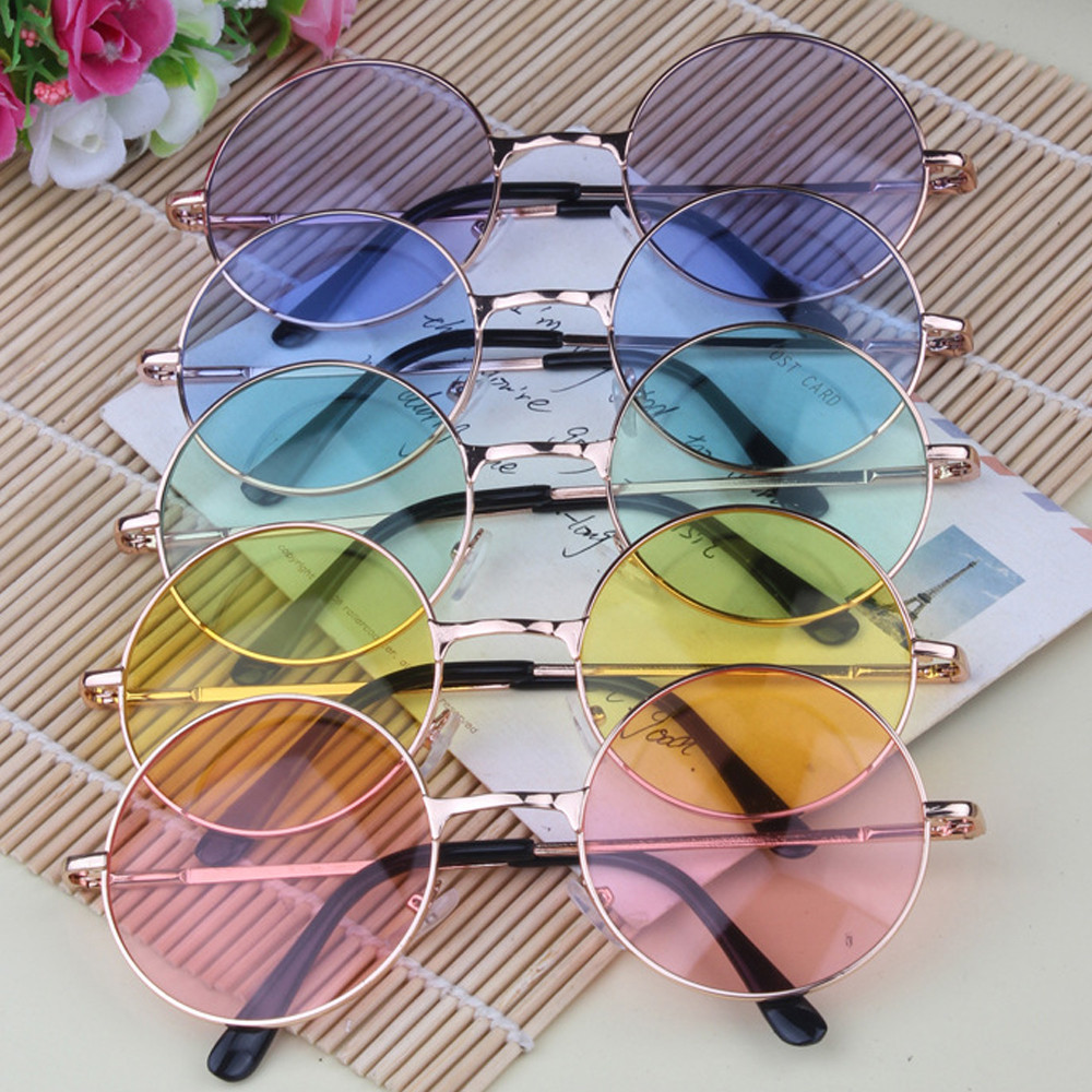 9de93bbb9 Women Multi-Color Round Sunglasses Golden Frame Glasses Shades Hippie  Lennon Ozzy 60s 70s Vintage Steampunk Unisex Men