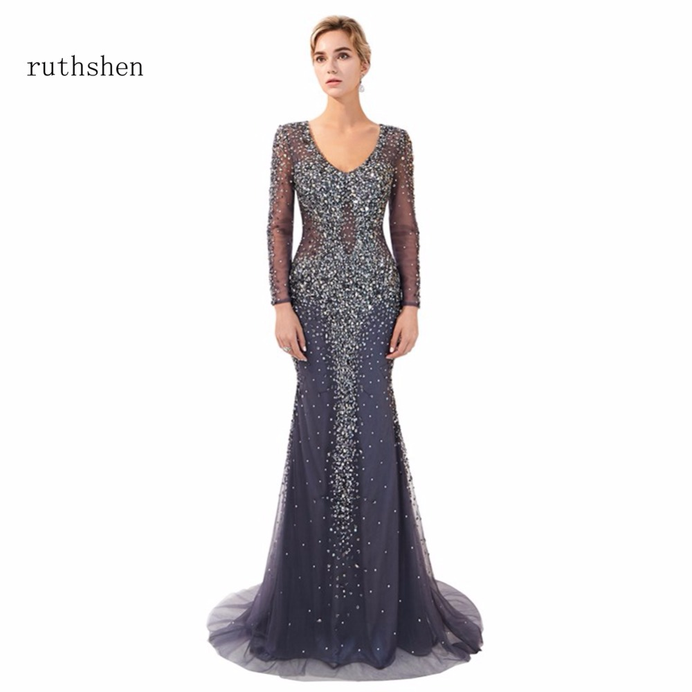 ruthshen Elegant Champagne Mermaid Long   Evening     Dresses   2018 Ruffles Full Sleeves Formal Sexy Prom   Dress   For Special Occasions