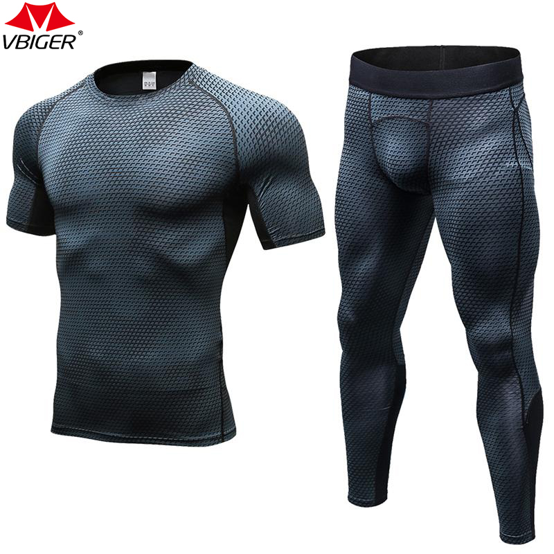Vbiger Men Running T-shirt Tights Sets Quick Dry Long Sleeves Compression Gym Sports Fitness Sports Suit Set Sportwear Clothing classic plaid pattern shirt collar long sleeves slimming colorful shirt for men