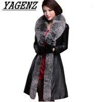 Laarge Размер 5xl зима Для женщин лисий мех пуховое пальто 2018 высокого качества тонкий черный темперамент длинные кожаная куртка теплая верхняя