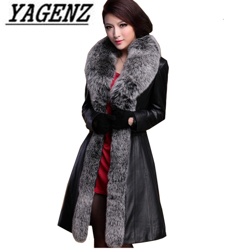 Laarge size 5XL Winter Women Fox fur Down Jacket Coats 2018 High grade Slim Black Temperament Long Leather Jacket Warm Outerwear
