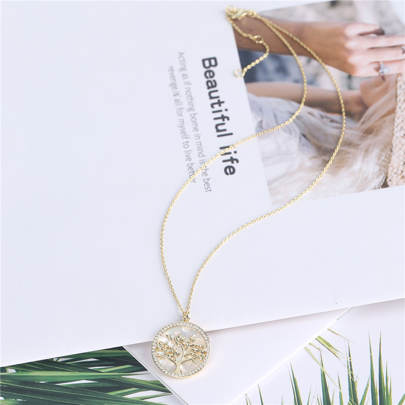 Popular Jewelry Gold Plated Brass CZ Pearl Shell Pendant Necklace Women (1)