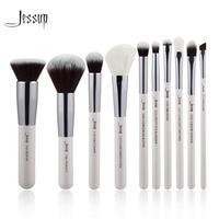 Jessup Brand Pearl White Silver Professional Makeup Brushes Set Make Up Brush Tools Kit Foundation Powder