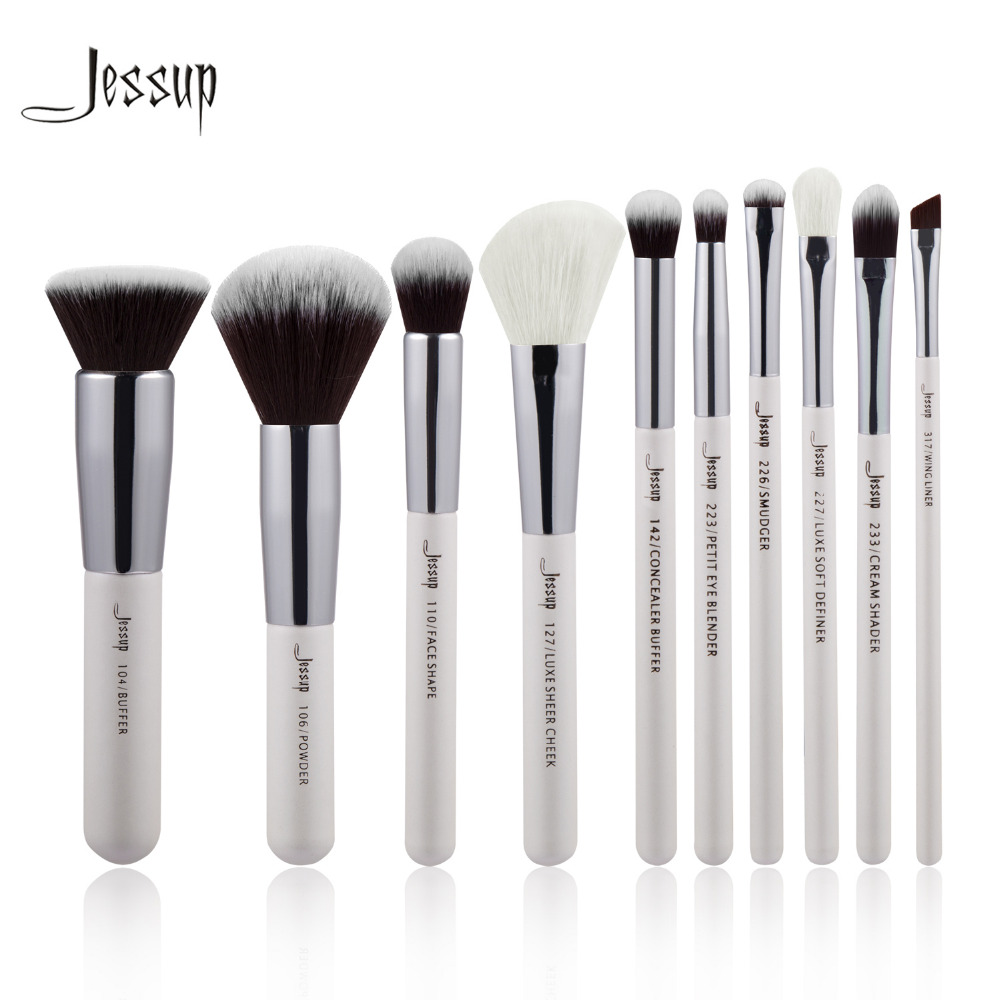 Jessup Brand Pearl White/Silver Professional Makeup Brushes Set Make up Brush Tools kit Foundation Powder Buffer Cheek Shader цены онлайн