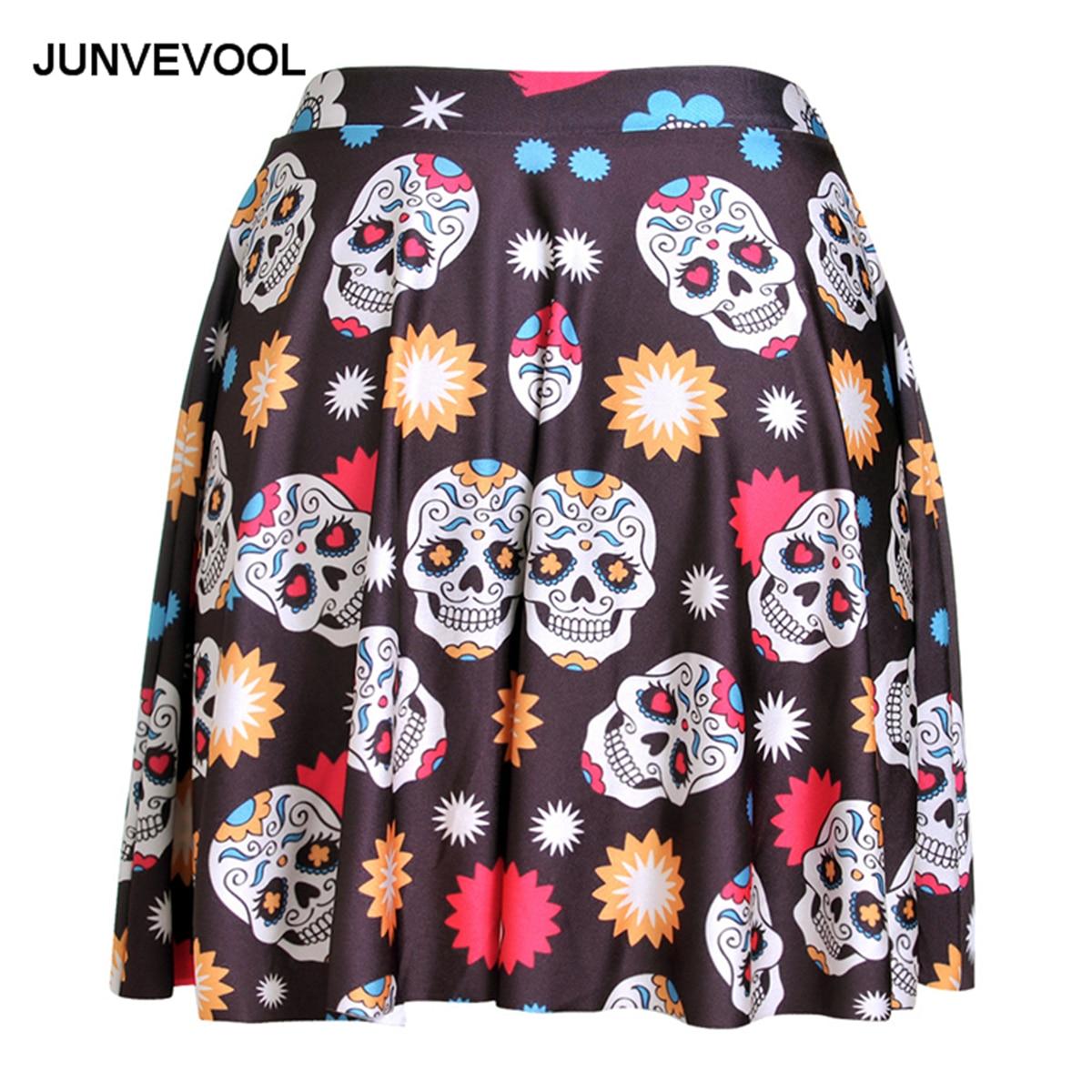 Skull 3D Printed Women Skirt Digital Pleated Mini Skirts Ladies Career Office Clothing Girls Club Hot Sale Fashion Styles wear