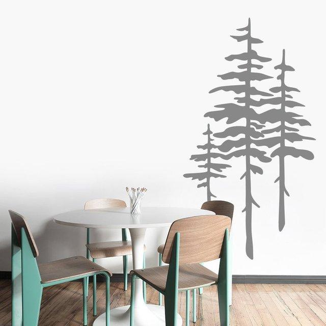 Pine Wall Art Sticker, Modern Natural Room Decor, Detachable Vinyl Applique Bedroom Living Room Home Art Deco Wallpaper 2WS38