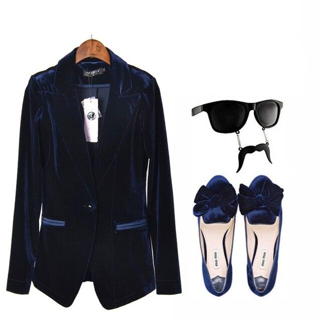 Новинка женщин свободного покроя пиджак куртка куртка девушку синий и вино из красного бархата костюм тонкий женский пиджак женский women blazers пиджак женщины пиджаки женские пиджак