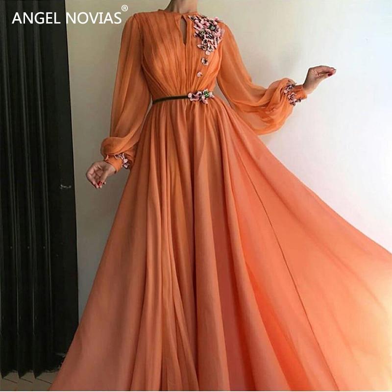 ANGE NOVIAS Manches Longues En Mousseline de Soie Abendkleider Arabie Arabe Femmes Robes De Soirée 2018 hochzeitsklei robe de sirene