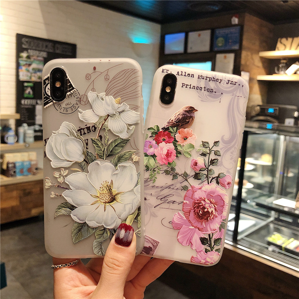 3D Relief Painted Case For Iphone XS Max 7 8 6 6S Plus X Fashion Flower Bird Soft Cover For Oppo F9 Case For Vivo V9 Y85 (C0929)